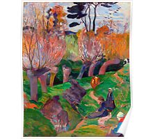 1889 - Gauguin - Brittany Landscape with cows Poster