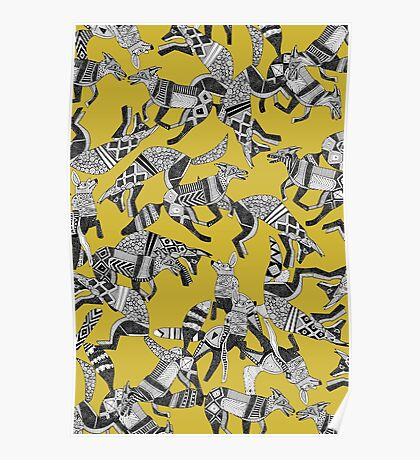 woodland fox party ochre yellow Poster