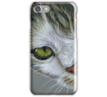 Tara - White and Tabby Cat Painting iPhone Case/Skin
