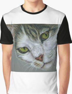 Tara - White and Tabby Cat Painting Graphic T-Shirt