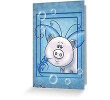 Piggy Portrait II Greeting Card