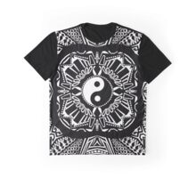 Black and White Yin and Yang Design Graphic T-Shirt