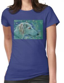 Saluki Dog Portrait Painting Womens Fitted T-Shirt