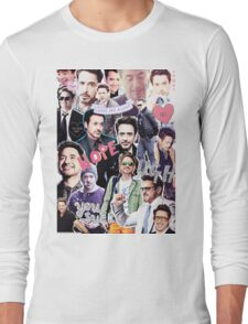 Robert Downey Jr. fangirl edit tumblr collage Long Sleeve T-Shirt
