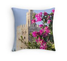 Seville - Torre del Oro between flowers Throw Pillow