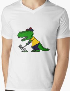 Cool Funny Alligator Playing Golf Mens V-Neck T-Shirt