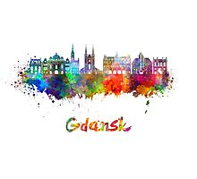 Gdansk skyline in watercolor Photographic Print