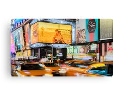 Taxis In Times Square Canvas Print