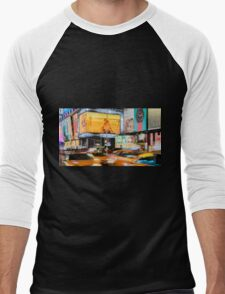 Taxis In Times Square Men's Baseball ¾ T-Shirt