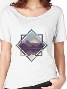 Reflective Lake & Mountains Sunset Women's Relaxed Fit T-Shirt