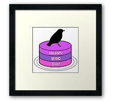 Funny Birthday Gift Bird Birds Cake Present Wordplay Trash Framed Print