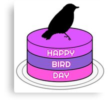 Funny Birthday Gift Bird Birds Cake Present Wordplay Trash Canvas Print
