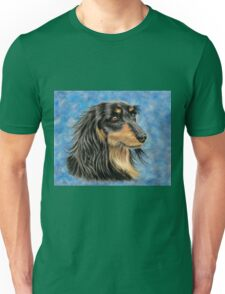 Marcus - Long Haired Black and Tan Dachshund  Unisex T-Shirt