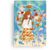Fish in the rain 魚と雨 Canvas Print