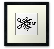 Cut the crap Funny Joke Humour Logo Simple Design Scissors Framed Print