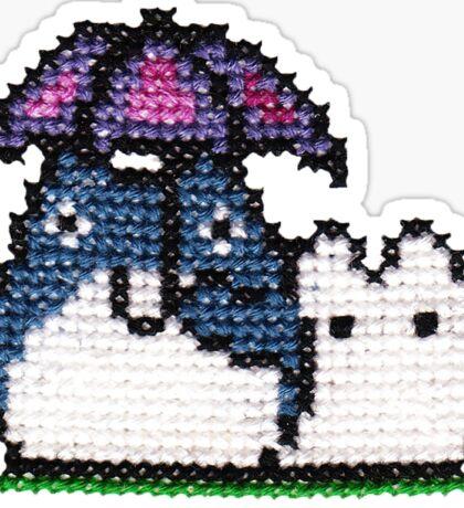 Cross stitch 8-bit Totoro Sticker