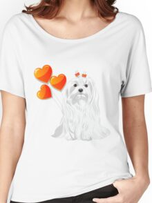 Valentine card with a dog Maltese Women's Relaxed Fit T-Shirt