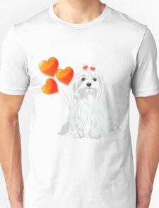Valentine card with a dog Maltese Unisex T-Shirt
