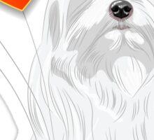 Valentine card with a dog Maltese Sticker