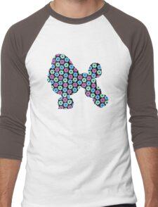 Poodle, Spring Floral Pattern Men's Baseball ¾ T-Shirt