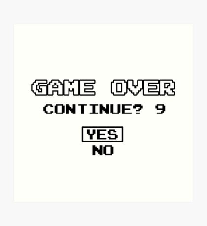 Game Over Geek Gaming Nerd Retro PC NES SNES PlayStation XBOX SEGA Art Print