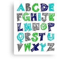 Alphabet for Baby's Room Green Aqua Blue Grey Kid's decor Canvas Print