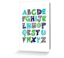Alphabet for Baby's Room Green Aqua Blue Grey Kid's decor Greeting Card