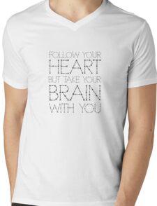 Heart Life Motivational Funny Joke Humour Fashion  Mens V-Neck T-Shirt