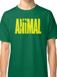 animal, fitness, muscle, strong, bodybuilding, logo, symbol, nutrition, vitamin, booster, barbell, club. Classic T-Shirt