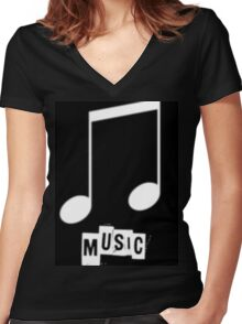 Black Music T-Shirts Women's Fitted V-Neck T-Shirt