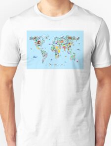 Animal Map of the World for children and kids Unisex T-Shirt