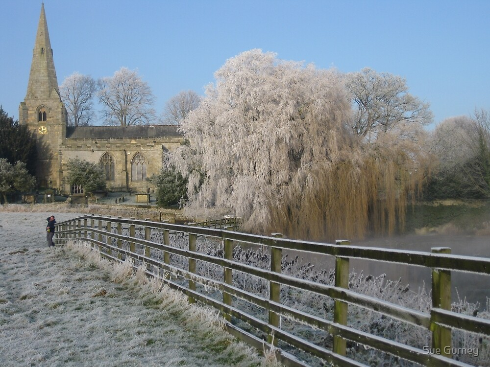 A cold and frosty morning in Brompton village near Scarborough. by Sue Gurney