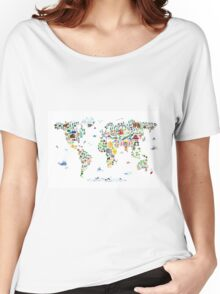 Animal Map of the World for children and kids Women's Relaxed Fit T-Shirt