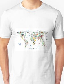 Animal Map of the World for children and kids T-Shirt