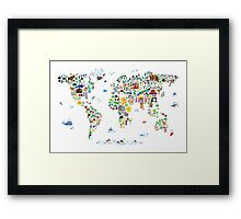Animal Map of the World for children and kids Framed Print