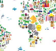 Animal Map of the World for children and kids Sticker