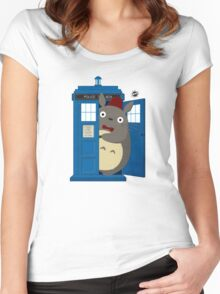 totoro Police Box Women's Fitted Scoop T-Shirt