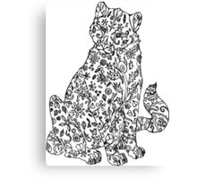 Color-in Floral Cheetah Canvas Print