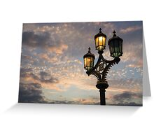 One Light Out - Westminster Bridge Streetlights, River Thames in London, UK Greeting Card