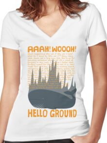 Hello Ground! Women's Fitted V-Neck T-Shirt