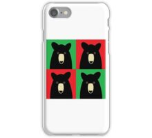 BLACK BEAR ON RED & GREEN iPhone Case/Skin