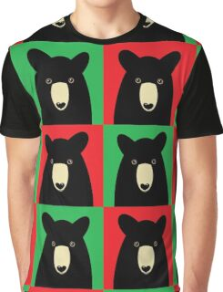 BLACK BEAR ON RED & GREEN Graphic T-Shirt