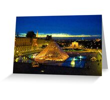 Impressions of Paris - Louvre Pyramid Blue Hour Greeting Card