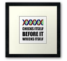 DNA Checks Wrecks Framed Print