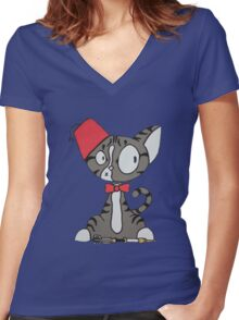fez cat Women's Fitted V-Neck T-Shirt