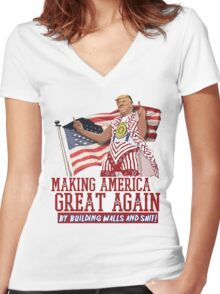 Making America Great Again! Donald Trump (IDIOCRACY) Women's Fitted V-Neck T-Shirt