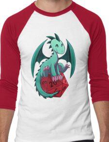 D&D - Dragons and Dice! (Green Dragon) Men's Baseball ¾ T-Shirt