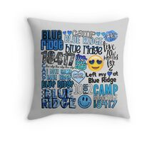 Blue Ridge Words Collage Throw Pillow