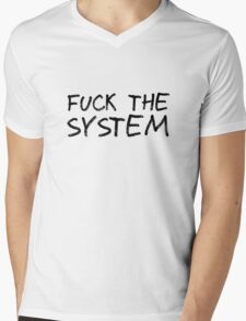 Fuck The System Punk Anarchy Protest Rock Music Grunge  Mens V-Neck T-Shirt