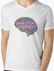 Think For Yourself Peace Hippie Colors Free Thinking Music Art Creativity Mens V-Neck T-Shirt